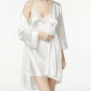 Linea Donatella Womens Robe M White Mrs. Chemise